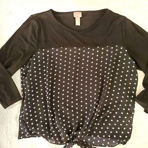 CHICO'S TOP,black/white polka dot mixed media sz 1